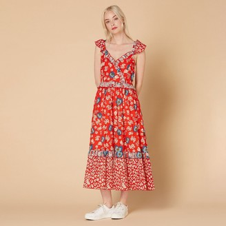 Derhy Cotton Ruffled Maxi Dress in Floral Print with V-Neck and Short Sleeves