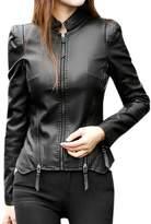 uxcell® Women Asymmetric Hem Slim Fit Pu Zip Design Jacket