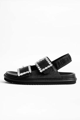 Zadig & Voltaire Alpha Grunge Metallic Sandals