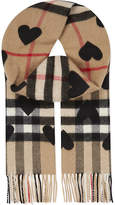 Burberry Heart print checked cashmere scarf