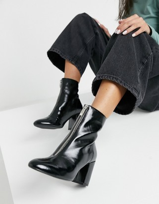 Bershka zip-front patent-heeled boot in black