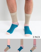 Asos Boot Socks With Colour Block 3 Pack