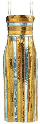 Galvan Stargaze Sequinned Striped Midi Dress - Gold Multi
