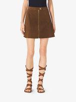Michael Kors Zip-Front Suede Skirt
