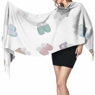 Yushg Fashion Cartoon Cute Home Slipper Scarfs With Fringe Scarfs For Girls Colorful Scarf 77x27inch/196x68cm Large Soft Pashmina Extra Warm