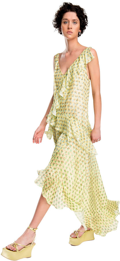 Max Studio printed silk mesh chiffon ruffled dress
