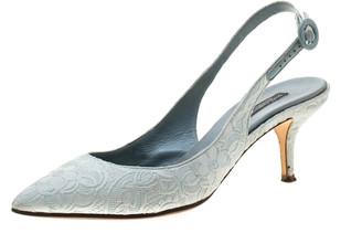 Dolce & Gabbana Light Grey Brocade Fabric Slingback Sandals 38