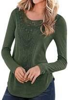 KOINECO Women's Crochet Cut Out T-Shirts Brown X-Large