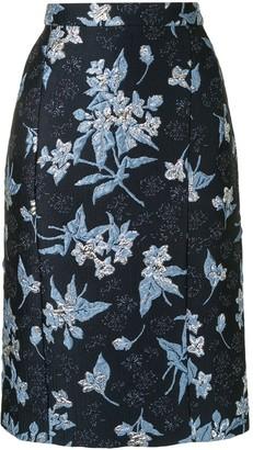 DELPOZO Jacquard Pencil Skirt