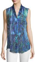 Elie Tahari Ellis Graphic-Print Sleeveless Silk Blouse