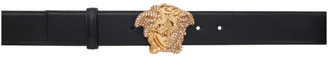 Versace Black and Gold Medusa Palazzio Dia Crystal Belt