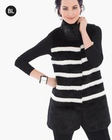 Chico's Striped Faux-Fur Vest