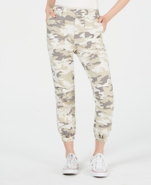 Tinseltown Love Fire Juniors' Tan Camo Slim Utility Pants