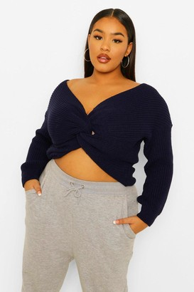 boohoo Plus Twist Front Knitted Sweater