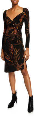 Norma Kamali Long-Sleeve Sweetheart Side-Drape Knee-Length Dress