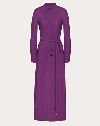 Valentino Double-faced Viscose Dress With V Pave Belt Women Deep Lilac Viscose 100% 36