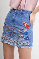 Umgee USA Denim Embroidered Skirt