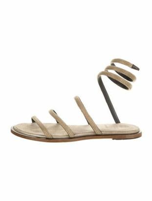 Brunello Cucinelli Crystal Embellishments Gladiator Sandals Gold