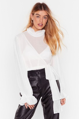 Nasty Gal Womens Tie Ruffle High Neck Blouse with Wrap Design - White
