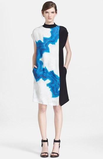 3.1 Phillip Lim Geode Print Colorblock Shift Dress