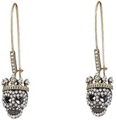 Betsey Johnson Dark Shadows Skull Earrings (Crystal) Earring