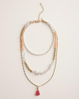 Chico's Convertible Quartz, Jade and Agate Necklace