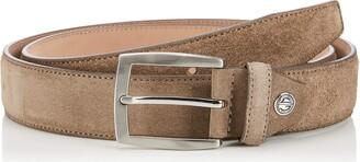 LINDENMANN Mens leather belt/Mens belt suede leather belt curved nature