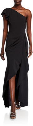 Parker Black Megan Asymmetric Crepe Ruffle Gown