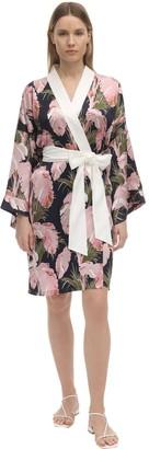 Olivia von Halle Mimi Printed Silk Kimono