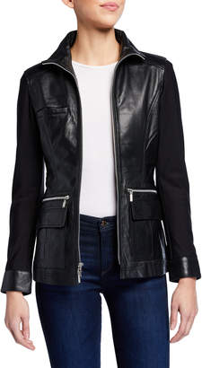 Anatomie Edith Leather Front Jacket w/ Knit Sleeves & Back