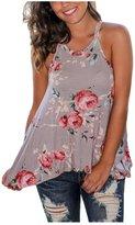 XWDA Halter Neck Tops Women Floral Print Vest Sleeveless Loose T-shirt Tee