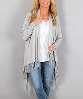 Love Tree Heather Gray Fringe Open Cardigan