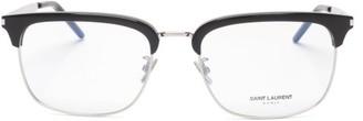 Saint Laurent Square Metal And Acetate Glasses - Clear