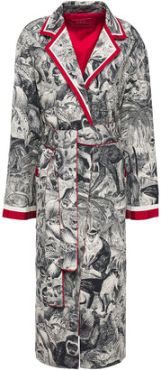 F.R.S For Restless Sleepers Andromaca Grosgrain-trimmed Printed Cotton Wrap Coat