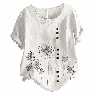 Women Tops Short Sleeve T-Shirt Summer Tees Cotton Tunics with Button Lace