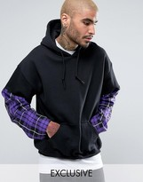 Reclaimed Vintage Inspired Oversized Hoodie In Black With Check Sleeves