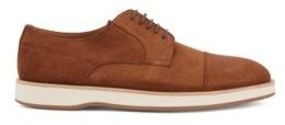 HUGO BOSS Derby Shoes In Calf Suede With Rubber Sole - Dark Brown