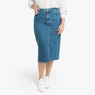 La Redoute Collections Plus Denim Straight Midi Skirt
