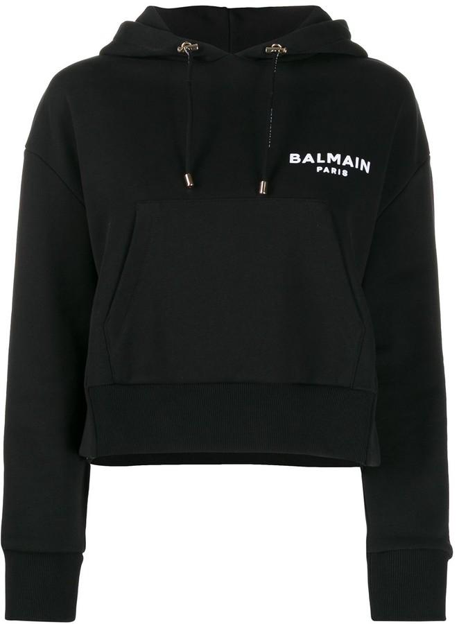 Balmain Logo Cropped Hoodie