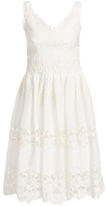 Dolce & Gabbana Poplin Lace Tiered A-Line Dress