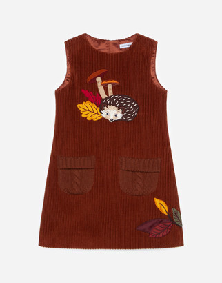 Dolce & Gabbana Short Stretch Corduroy Dress With Hedgehog Patch