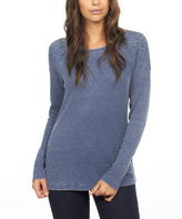 FDJ French Dressing Navy Bling-Shoulder Long-Sleeve Top - Plus Too