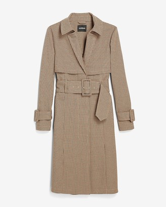 Express Plaid Belted Trench Coat