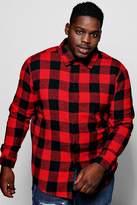 boohoo Big And Tall Red Buffalo Check Long Sleeve Shirt