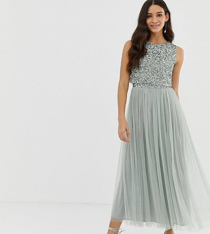 Maya Bridesmaid sleeveless midaxi tulle dress with tonal delicate sequin overlay in sage green