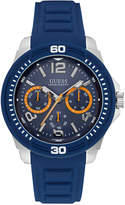 GUESS Men's Multifunction Blue Silicone Strap Watch 46mm U0967G2
