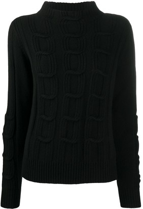 D-Exterior Cable-Knit Jumper
