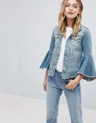 Pepe Jeans Ruffle Sleeve Denim Jacket-Blue