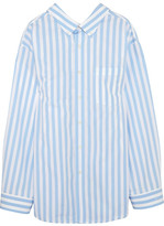 Balenciaga Oversized Striped Cotton-poplin Shirt - Blue