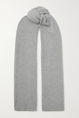 Brunello Cucinelli Sequin-embellished Metallic Ribbed-knit Scarf - Gray